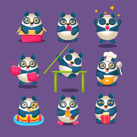 Cute Panda Emoji Collection With Humanized Cartoon Panda Character Doing Different Day-to-day Things. Colorful Isolated Vector Illustrations With Animal In Different Fantastic Situations Set. Illustration