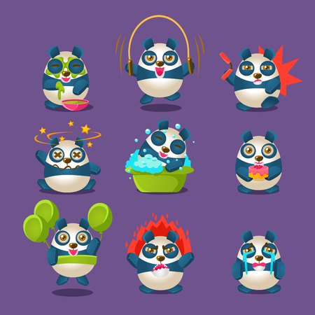 Cute Panda Emotions And Activities Collection With Humanized Cartoon Panda Character Doing Different Day-to-day Things. Colorfuk Isolated Vector Illustrations With Animal In Different Fantastic Situations Set. Vecteurs