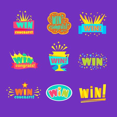 Gewinnen Sie Glückwünsche Aufkleber-Sortiment von Comic-Designs für Videospiel-Siegerfinale. Satz von grafischen flachen Vektornachrichten mit Text, der Glückwünsche und Siegsymbole sagt