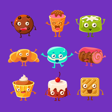 Happy Food Sweets And Sweet Pastry Characters With Faces, Hands And Legs. Cartoon Humanized Eatable Creatures Smiling And Waving Set Of Illustrations On Dark Background. 일러스트