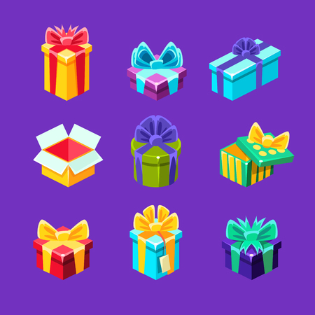 Gift Boxes With And Without A Present Inside Decorative Wrapped Cardboard Boxes Collection. Colorful Isolated Icons With Party And Other Celebrations Festive Gifts In Special Package. Illustration