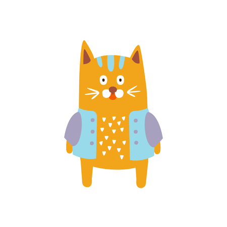 Red Cat Wearing Jacket In Autumn Standing Upright Humanized Animal Character Illustration In Funky Decorative Style. Pet Fantastic Character Flat Vector Colorful Print From Woodland Fauna Collection  イラスト・ベクター素材