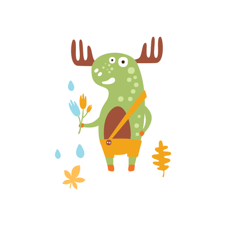 Green Moose Wearing Uellow Pants With Suspender Holding A Fallen Leaf Smiling In Autumn Standing Upright Humanized Animal Character Illustration In Funky Decorative Style. Forest Fantastic Character Flat Vector Colorful Print From Woodland Fauna Collection