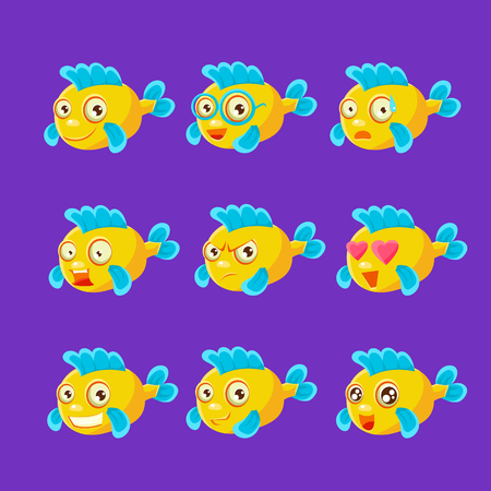 Cute Yellow Aquarium Fish Cartoon Character Set Of Different Facial Expressions And Emotions. Emoji Collection With Colorful Friendly Tropical Fish Childish Animal Icons. 向量圖像