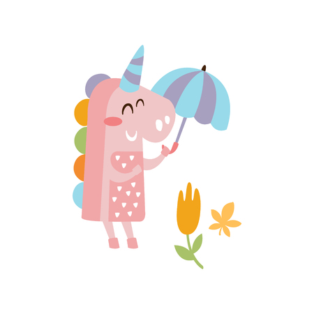 Pink Unicorn Holding Umbrella Smiling In Autumn Standing Upright Humanized Animal Character Illustration In Funky Decorative Style. Imaginary Fantastic Character Flat Vector Colorful Print From Woodla  イラスト・ベクター素材