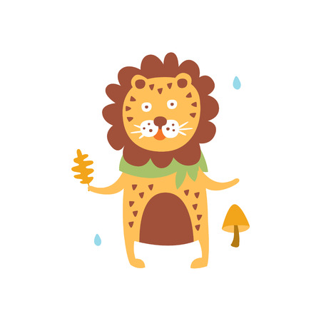 Polka-Dotted Lion In Scarf Holding Oak Leaf In Autumn Standing Upright Humanized Animal Character Illustration In Funky Decorative Style. African Fantastic Character Flat Vector Colorful Print From Woodland Fauna Collection 向量圖像