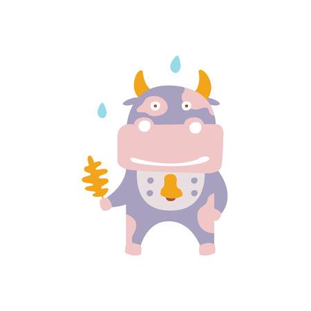 Vache violette portant une cloche avec une feuille de chêne sous la pluie en automne, debout, debout, humanisé, animal, caractère, illustration, dans, funky, décoratif, style. Impression colorée de vecteur plat de caractère fantastique de ferme de la collection de faune des bois