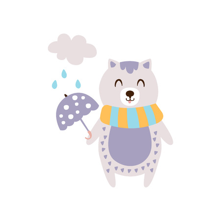 Violet Cat In Scarf Holding Umbrella Under Rain In Autumn Standing Upright Humanized Animal Character Illustration In Funky Decorative Style. Pet Fantastic Character Flat Vector Colorful Print From Woodland Fauna Collection