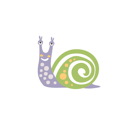 Viole Polka-dotted Snail With Green Shell Smiling Animal Character Illustration In Funky Decorative Style. Insect Fantastic Character Flat Vector Colorful Print From Woodland Fauna Collection 일러스트