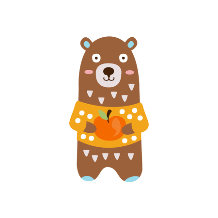 Brown Bear In Yellow Sweater Holding Apple In Autumn Standing Upright Humanized Animal Character Illustration In Funky Decorative Style. Forest Fantastic Character Flat Vector Colorful Print From Woodland Fauna Collection