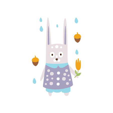 Rabbit In Violet Clothes Under Rain In Autumn Standing Upright Humanized Animal Character Illustration In Funky Decorative Style. Forest Fantastic Character Flat Vector Colorful Print From Woodland Fauna Collection