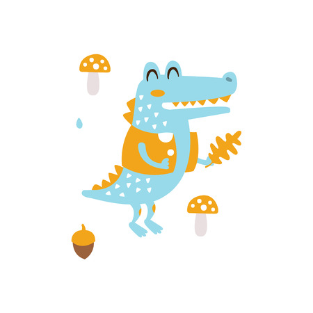 Blue Crocodile In Jacket Holding Oak Leaf Smiling In Autumn Standing Upright Humanized Animal Character Illustration In Funky Decorative Style. Reptile Fantastic Character Flat Vector Colorful Print From Woodland Fauna Collection