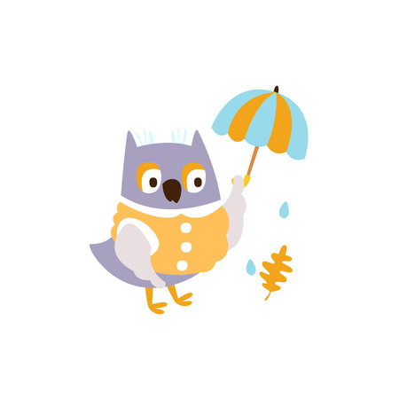 Owl In Jacket With Umbrella Under Rain In Autumn Standing Upright Humanized Animal Character Illustration In Funky Decorative Style. Bird Fantastic Character Flat Vector Colorful Print From Woodland Fauna Collection