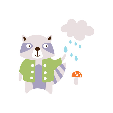 Raccoon WEaring Green Coat Under The Rain In Autumn Standing Upright Humanized Animal Character Illustration In Funky Decorative Style. Forest Fantastic Character Flat Vector Colorful Print From Woodl  イラスト・ベクター素材