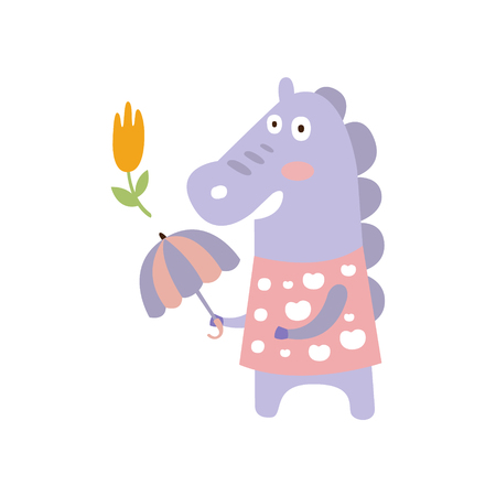 Violet Horse In Pink Polka-dotted Top With Umbrella In Autumn Standing Upright Humanized Animal Character Illustration In Funky Decorative Style. Farm Fantastic Character Flat Vector Colorful Print Fr  イラスト・ベクター素材