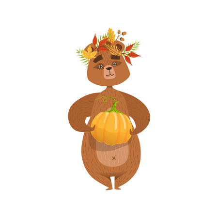 Girly Cartoon Brown Bear Character Holding Pumpkin And Wearing Fallen Leaves Chaplet Illustration. Humanized Wild Forest Animal And His Activities Childish Vector Sticker.