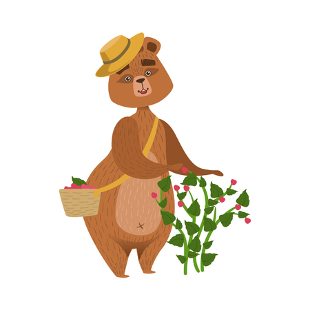 Girly Cartoon Brown Bear Character Wearing Straw Hat Collecting Raspberries From The Bush Into Wicker Basket Illustration. Humanized Wild Forest Animal And His Activities Childish Vector Sticker. Foto de archivo - 128162316