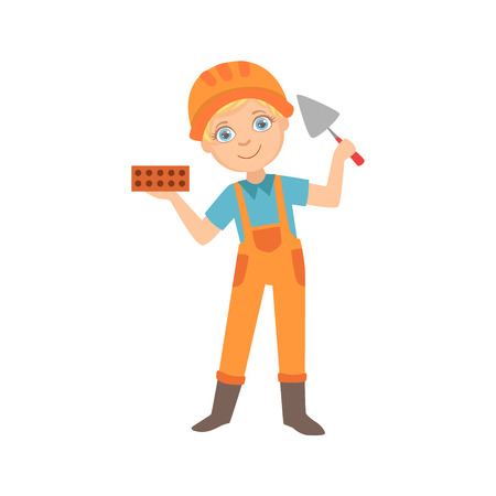Boy Holding A Palette Knife And A Brick, Kid Dressed As Builder On The Construction Site Future Dream Profession Set Illustration. Teenager In Construction Worker Uniform Wearing Hard Hat And Dungarees Cute Cartoon Vector Character. Stock Illustratie