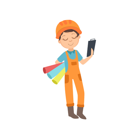 Boy With Three Wallpaper Rolls And A Checklist, Kid Dressed As Builder On The Construction Site Future Dream Profession Set Illustration. Teenager In Construction Worker Uniform Wearing Hard Hat And D  イラスト・ベクター素材