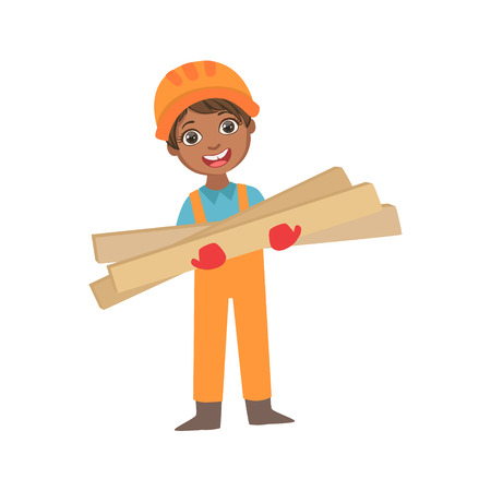 Boy In Working Gloves Holdig Boards Of Wood, Kid Dressed As Builder On The Construction Site Future Dream Profession Set Illustration. Teenager In Construction Worker Uniform Wearing Hard Hat And Dungarees Cute Cartoon Vector Character.