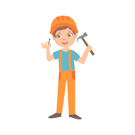 Boy With The Hammer And Nail, Kid Dressed As Builder On The Construction Site Future Dream Profession Set Illustration. Teenager In Construction Worker Uniform Wearing Hard Hat And Dungarees Cute Cartoon Vector Character.