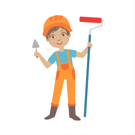 Boy With A Trowel And Painting Roll, Kid Dressed As Builder On The Construction Site Future Dream Profession Set Illustration. Teenager In Construction Worker Uniform Wearing Hard Hat And Dungarees Cute Cartoon Vector Character.