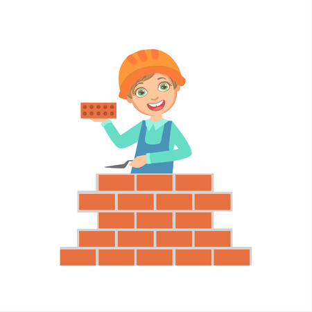 Boy Building A Brick Wall, Kid Dressed As Builder On The Construction Site Future Dream Profession Set Illustration. Teenager In Construction Worker Uniform Wearing Hard Hat And Dungarees Cute Cartoon Vector Character.