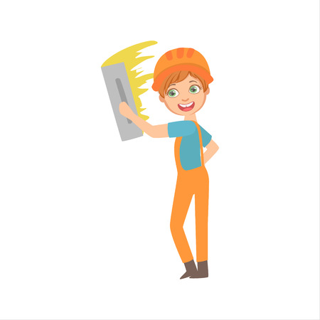 Boy Aligning The Walls With Palette Knife, Kid Dressed As Builder On The Construction Site Future Dream Profession Set Illustration. Teenager In Construction Worker Uniform Wearing Hard Hat And Dungarees Cute Cartoon Vector Character. Stock Illustratie