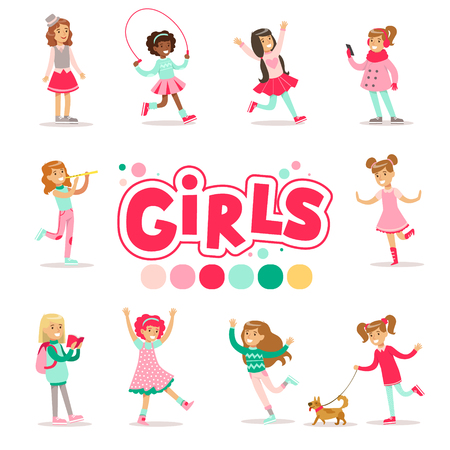 Happy And Their Expected Classic Behavior With Girly Games And Pink Dresses Set Of Traditional Female Kid Role Illustrations. Collection Of Smiling Teenage Girls And Their Interests Vector Flat Illustrations.