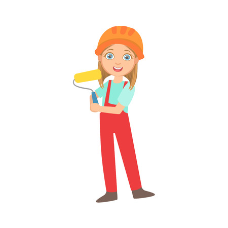 Girl Holding A Painting Roll, Kid Dressed As Builder On The Construction Site Future Dream Profession Set Illustration. Teenager In Construction Worker Uniform Wearing Hard Hat And Dungarees Cute Cartoon Vector Character. Stock Illustratie