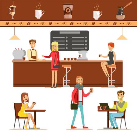 Diseño de interiores y clientes felices de una cafetería conjunto de ilustraciones. Personas pidiendo y disfrutando de bebidas y comida en un café coloridos dibujos vectoriales simples. Ilustración de vector