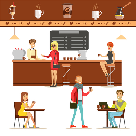 Interior Design And Happy Clients Of A Coffee Shop Set Of Illustrations. People Ordering And Enjoying Drinks And Food In A Cafe Colorful Simple Vector Drawings. 向量圖像