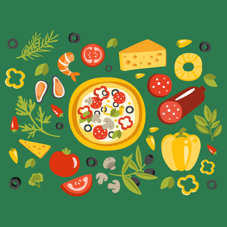 Pizza Surrounded With Different Ingredients For It, Italian Cuisine Dish Preparation And Cooking Illustration. Separated Flat Vector Details Of Fast Food Or Cafe Traditional Meal Set Of Objects. 写真素材 - 128162339