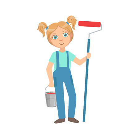 Girl With The Metal Bucket And Painting Roll, Kid Dressed As Builder On The Construction Site Future Dream Profession Set Illustration. Teenager In Construction Worker Uniform Wearing Hard Hat And Dungarees Cute Cartoon Vector Character. Stock Photo