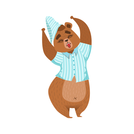 Girly Cartoon Brown Bear Character In Pyjamas Stretching And Yawning Illustration. Humanized Wild Forest Animal And His Activities Childish Vector Sticker.