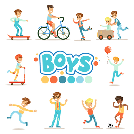 Happy Boys And Their Expected Classic Behavior With Active Games And Sport Practices Set Of Traditional Male Kid Role Illustrations. Collection Of Smiling Teenage Boys And Their Interests Vector Flat