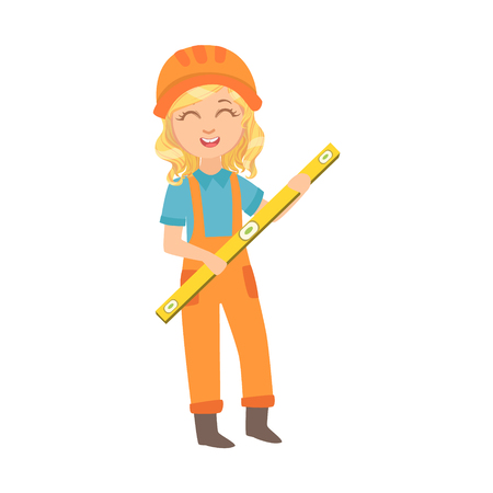 Girl With The Construction Line-Up, Kid Dressed As Builder On The Construction Site Future Dream Profession Set Illustration. Teenager In Construction Worker Uniform Wearing Hard Hat And Dungarees Cut 写真素材