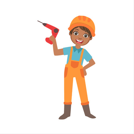Boy Holding Electric Drill, Kid Dressed As Builder On The Construction Site Future Dream Profession Set Illustration. Teenager In Construction Worker Uniform Wearing Hard Hat And Dungarees Cute Cartoo 스톡 콘텐츠