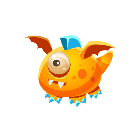 fantastic creature: Orange Fantastic Friendly Pet Dragon With One Eye Fantasy Imaginary Monster Collection. Colorful Imaginary Dragon Like Alien Creature From Another Planet.