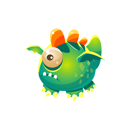 fantastic creature: Green Fantastic Friendly Pet Dragon With One Eye Fantasy Imaginary Monster Collection. Colorful Imaginary Dragon Like Alien Creature From Another Planet. Illustration