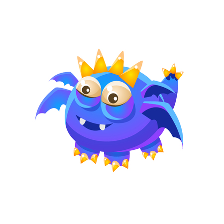 fantastic creature: Blue Fantastic Friendly Pet Dragon With Four Wings Fantasy Imaginary Monster Collection. Colorful Imaginary Dragon Like Alien Creature From Another Planet. Illustration