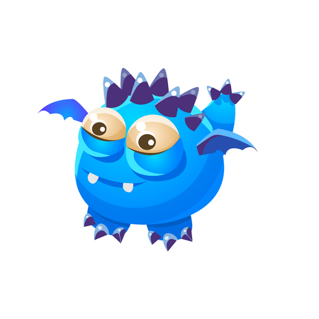 fantastic creature: Blue Spiky Fantastic Friendly Pet Dragon With Tiny Wings Fantasy Imaginary Monster Collection. Colorful Imaginary Dragon Like Alien Creature From Another Planet.