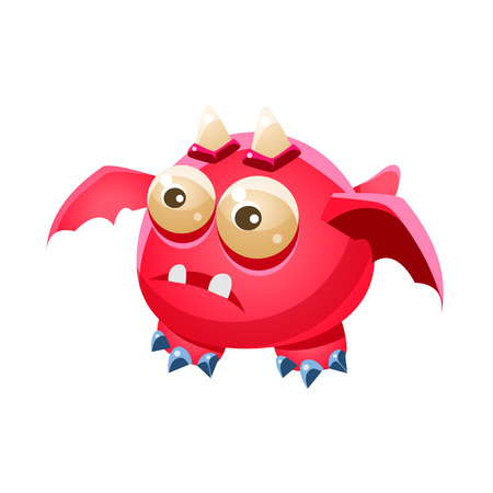 fantastic creature: Pink Fantastic Friendly Pet Dragon With Two Horns Fantasy Imaginary Monster Collection. Colorful Imaginary Dragon Like Alien Creature From Another Planet.