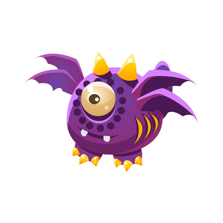 war paint: Purple Fantastic Friendly Pet Dragon With Four Wings Fantasy Imaginary Monster Collection. Colorful Imaginary Dragon Like Alien Creature From Another Planet.