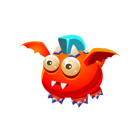 Red Fantastic Friendly Pet Dragon With Blue Mohawk Fantasy Imaginary Monster Collection. Colorful Imaginary Dragon Like Alien Creature From Another Planet. Illustration
