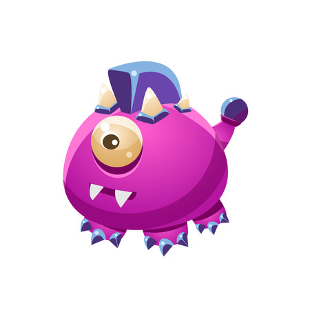 fantastic creature: Violet Fantastic Friendly Wingless Pet Dragon Fantasy Imaginary Monster Collection. Colorful Imaginary Dragon Like Alien Creature From Another Planet.