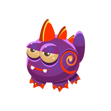fantastic creature: Purple Fantastic Friendly Wingless Pet Dragon Fantasy Imaginary Monster Collection. Colorful Imaginary Dragon Like Alien Creature From Another Planet. Illustration