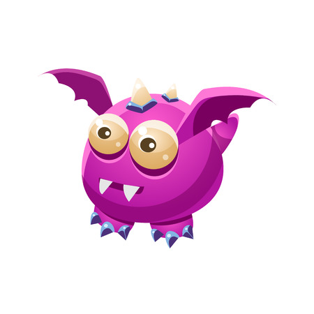 fantastic creature: Violet Fantastic Friendly Pet Dragon With Sharp Fangs Fantasy Imaginary Monster Collection. Colorful Imaginary Dragon Like Alien Creature From Another Planet.