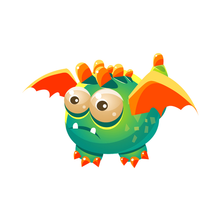 fantastic creature: Green Fantastic Friendly Pet Dragon With Orange Wings Fantasy Imaginary Monster Collection. Colorful Imaginary Dragon Like Alien Creature From Another Planet.