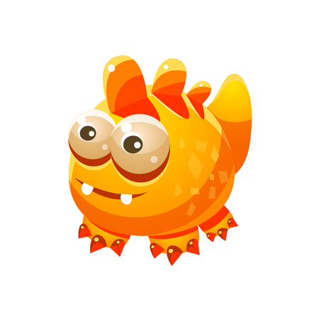 fantastic creature: Yellow Fantastic Friendly Pet Wingess Dragon Fantasy Imaginary Monster Collection. Colorful Imaginary Dragon Like Alien Creature From Another Planet.
